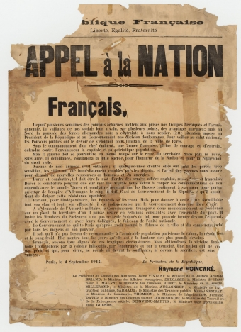 Appel à la nation 2 septembre 1914