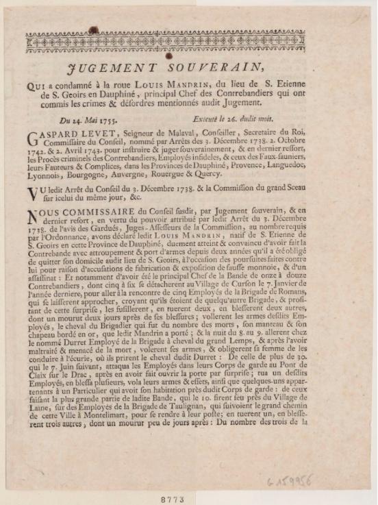 Texte du jugement de Mandrin - 1755