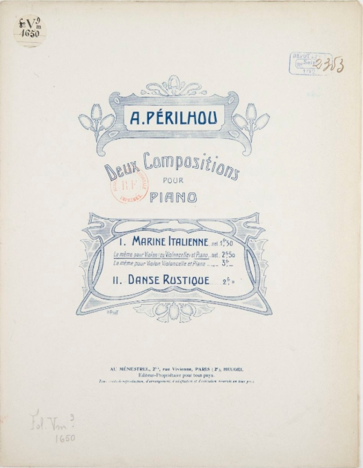 Partition Marine italienne, pour violon ou violoncelle et piano